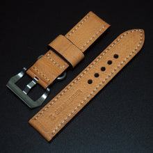 24mm Orange Vintage Style Calf Leather Watch Strap w/ Buckle For Panerai - Strapholic_錶帶工房, Rolex, IWC, Panerai, AP, Cartier, Tudor, Omega, Watch_Bands
