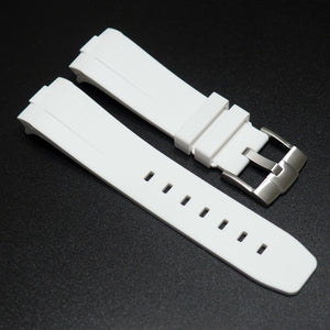 White Premium Rubber Watch Strap w/ Curved Ends & Buckle For Panerai - Strapholic_錶帶工房, Rolex, IWC, Panerai, AP, Cartier, Tudor, Omega, Watch_Bands