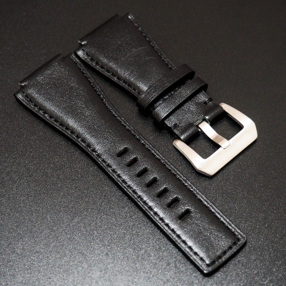 Bell & Ross Style Black Embossed Calf Leather Watch Strap - Strapholic_錶帶工房, Rolex, IWC, Panerai, AP, Cartier, Tudor, Omega, Watch_Bands