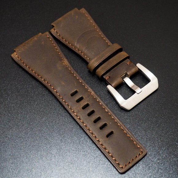 Bell & Ross Style Brown Embossed Calf Leather Watch Strap - Strapholic_錶帶工房, Rolex, IWC, Panerai, AP, Cartier, Tudor, Omega, Watch_Bands