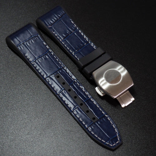 Frank Muller Style Blue Calf Leather / Rubber Watch Strap with Deployment Clasp - Strapholic_錶帶工房, Rolex, IWC, Panerai, AP, Cartier, Tudor, Omega, Watch_Bands