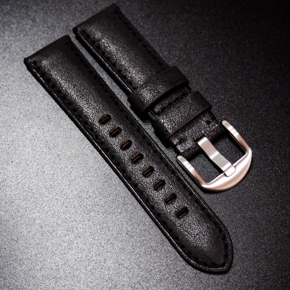 Nostalgic Black Italy Calf Leather Handmade Watch Strap - Strapholic_錶帶工房, Rolex, IWC, Panerai, AP, Cartier, Tudor, Omega, Watch_Bands