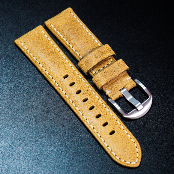 Nostalgic Dijon Orange Italy Calf Leather Handmade Watch Strap w/ White Stitching - Strapholic_錶帶工房, Rolex, IWC, Panerai, AP, Cartier, Tudor, Omega, Watch_Bands