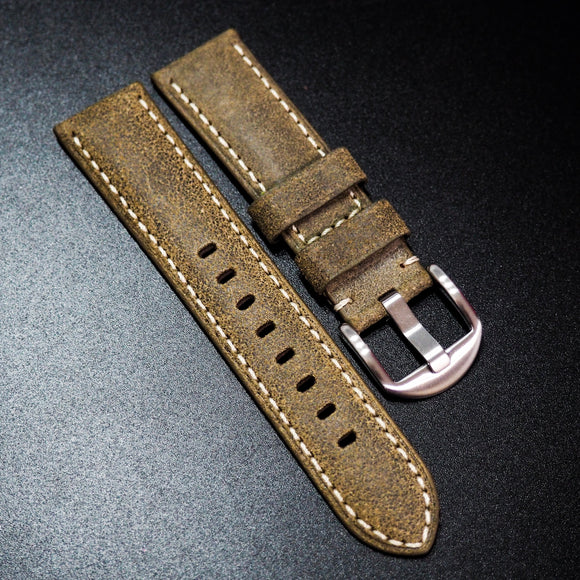 Nostalgic Olive Green Italy Calf Leather Handmade Watch Strap w/ White Stitching - Strapholic_錶帶工房, Rolex, IWC, Panerai, AP, Cartier, Tudor, Omega, Watch_Bands