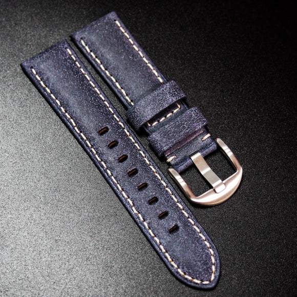 Nostalgic Blue Italy Calf Leather Handmade Watch Strap w/ White Stitching - Strapholic_錶帶工房, Rolex, IWC, Panerai, AP, Cartier, Tudor, Omega, Watch_Bands