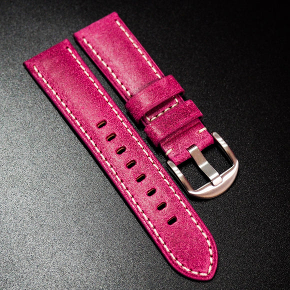 Nostalgic Hot Pink Italy Calf Leather Handmade Watch Strap w/ White Stitching - Strapholic_錶帶工房, Rolex, IWC, Panerai, AP, Cartier, Tudor, Omega, Watch_Bands