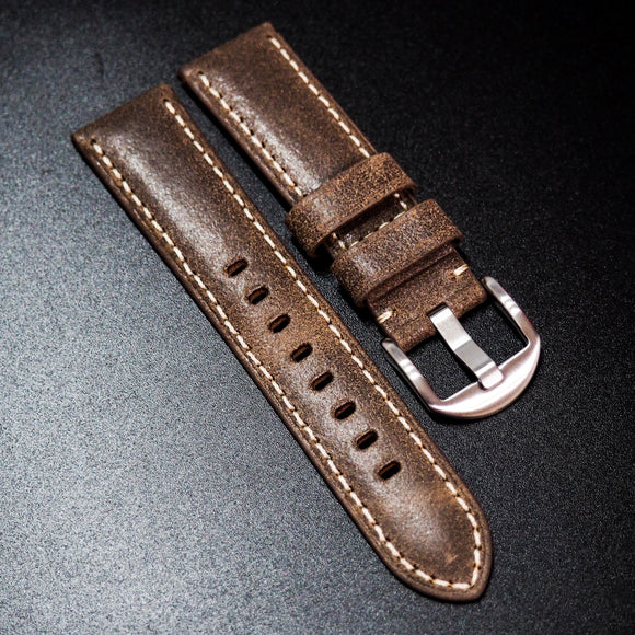 Nostalgic Brown Italy Calf Leather Handmade Watch Strap w/ White Stitching - Strapholic_錶帶工房, Rolex, IWC, Panerai, AP, Cartier, Tudor, Omega, Watch_Bands