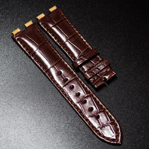 Premium Brown Alligator Leather Watch Strap For Piaget Polo - Strapholic_錶帶工房, Rolex, IWC, Panerai, AP, Cartier, Tudor, Omega, Watch_Bands