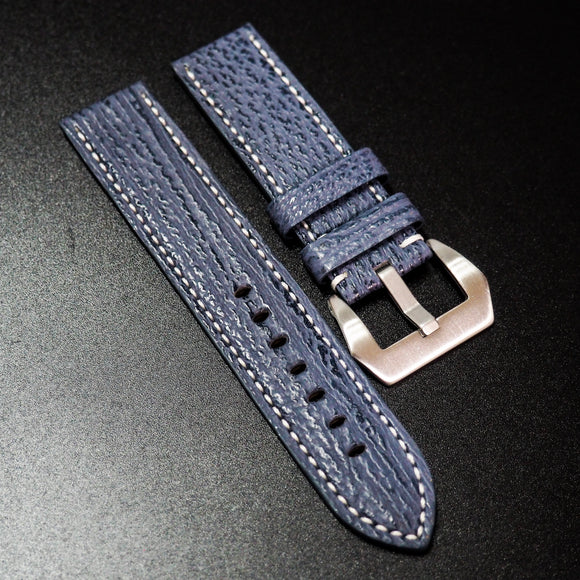 Blue Shark Leather Watch Strap w/ White Stitching For Panerai - Strapholic_錶帶工房, Rolex, IWC, Panerai, AP, Cartier, Tudor, Omega, Watch_Bands