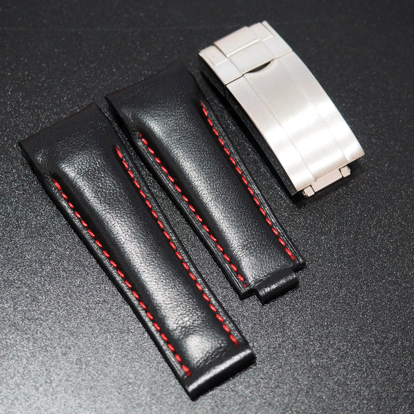 Black / Red Stitching Italian Calf Leather Watch Strap With Curved Ends For Rolex - Strapholic_錶帶工房, Rolex, IWC, Panerai, AP, Cartier, Tudor, Omega, Watch_Bands