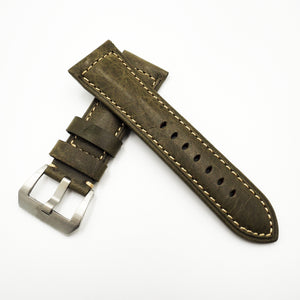 Panerai Style Olive Green Alligator-Embossed Calf Leather Watch Strap w/ Buckle - Strapholic_錶帶工房, Rolex, IWC, Panerai, AP, Cartier, Tudor, Omega, Watch_Bands
