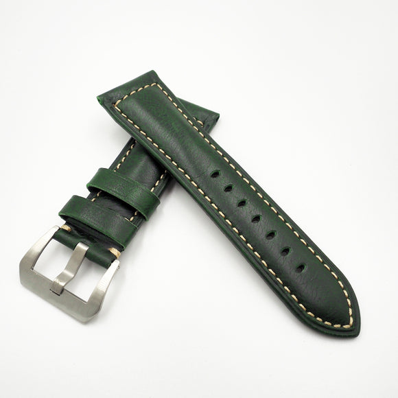 Panerai Style Green Alligator-Embossed Calf Leather Watch Strap w/ Buckle - Strapholic_錶帶工房, Rolex, IWC, Panerai, AP, Cartier, Tudor, Omega, Watch_Bands