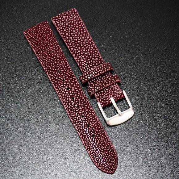 Premium Carmine Red Stingray Leather Watch Strap - Strapholic_錶帶工房, Rolex, IWC, Panerai, AP, Cartier, Tudor, Omega, Watch_Bands