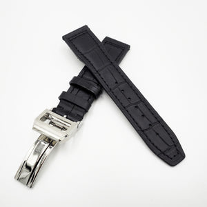 Black IWC Aviation Alligator-Embossed Calf Leather Watch Strap w/ Deployment Clasp - Strapholic_錶帶工房, Rolex, IWC, Panerai, AP, Cartier, Tudor, Omega, Watch_Bands