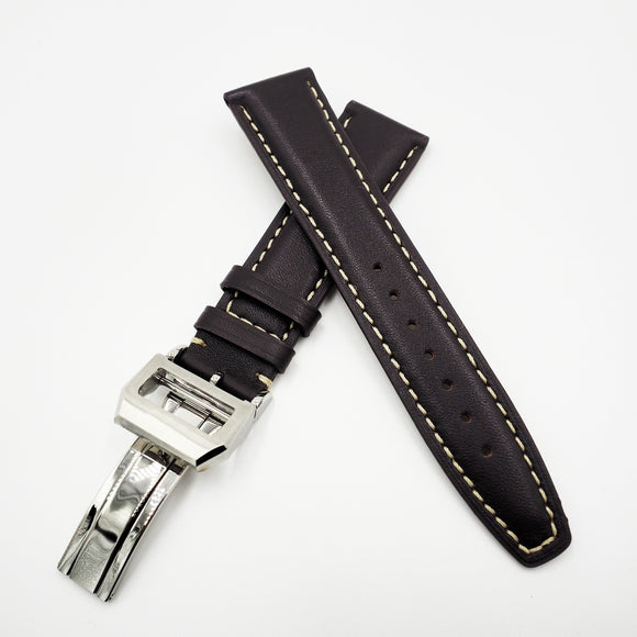 Dark Brown Calf Leather Watch Strap w/ Deployment Clasp For IWC - Strapholic_錶帶工房, Rolex, IWC, Panerai, AP, Cartier, Tudor, Omega, Watch_Bands