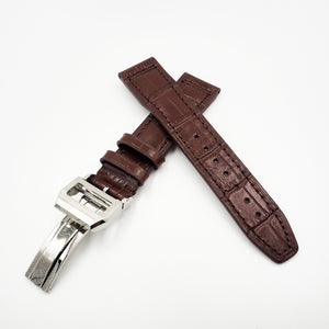 Brown IWC Aviation Alligator-Embossed Calf Leather Watch Strap w/ Deployment Clasp - Strapholic_錶帶工房, Rolex, IWC, Panerai, AP, Cartier, Tudor, Omega, Watch_Bands