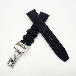 Black With Blue Stitching Nylon Watch Strap w/ Deployment Clasp For IWC - Strapholic_錶帶工房, Rolex, IWC, Panerai, AP, Cartier, Tudor, Omega, Watch_Bands