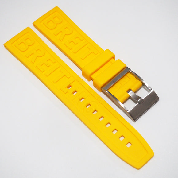 Yellow Breitling Style Rubber Watch Strap Replacement w/ Buckle - Strapholic_錶帶工房, Rolex, IWC, Panerai, AP, Cartier, Tudor, Omega, Watch_Bands