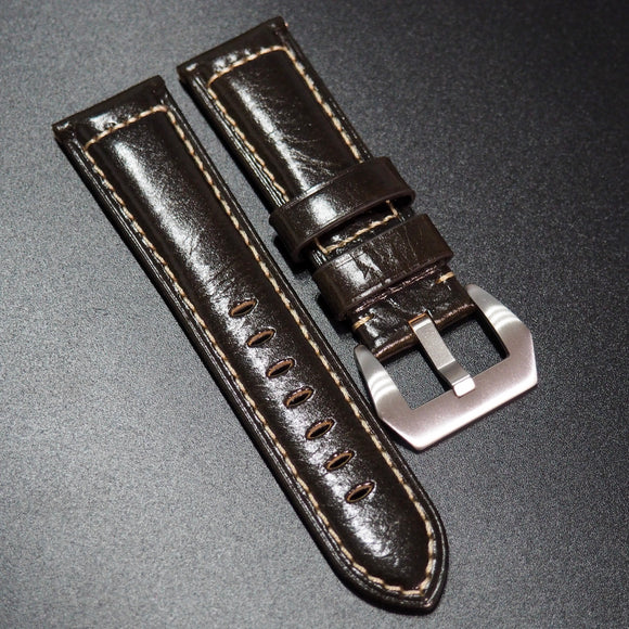 Panerai Style Brunette Brown Calf Leather Watch Strap