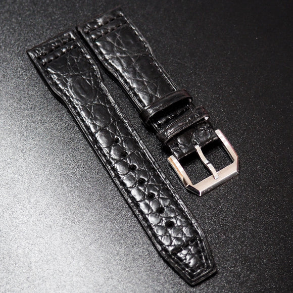 IWC Style Black Alligator Leather Watch Strap - Strapholic_錶帶工房, Rolex, IWC, Panerai, AP, Cartier, Tudor, Omega, Watch_Bands