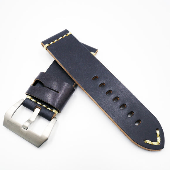 Blue Vintage Style Calf Leather Watch Strap w/ Buckle For Panerai - Strapholic_錶帶工房, Rolex, IWC, Panerai, AP, Cartier, Tudor, Omega, Watch_Bands