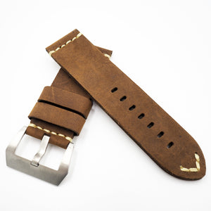 Brown Vintage Style Calf Leather Watch Strap w/ Buckle For Panerai - Strapholic_錶帶工房, Rolex, IWC, Panerai, AP, Cartier, Tudor, Omega, Watch_Bands