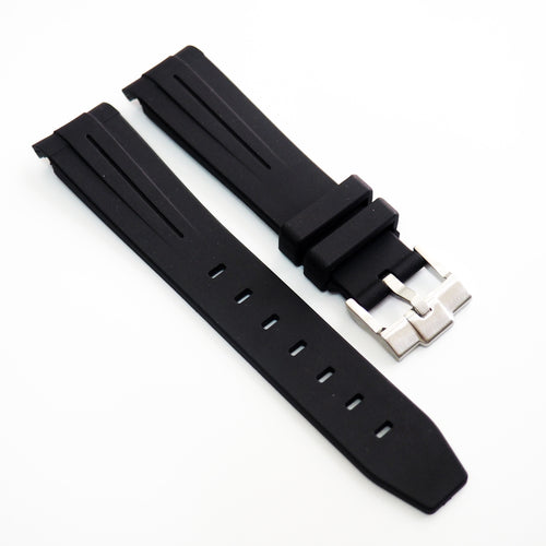 20mm Black Rubber Watch Strap With Curved Ends For Rolex - Strapholic_錶帶工房, Rolex, IWC, Panerai, AP, Cartier, Tudor, Omega, Watch_Bands