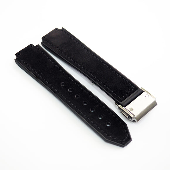 Black Calf Leather Watch Strap With Clasp For Hublot Big Bang 38mm - Strapholic_錶帶工房, Rolex, IWC, Panerai, AP, Cartier, Tudor, Omega, Watch_Bands
