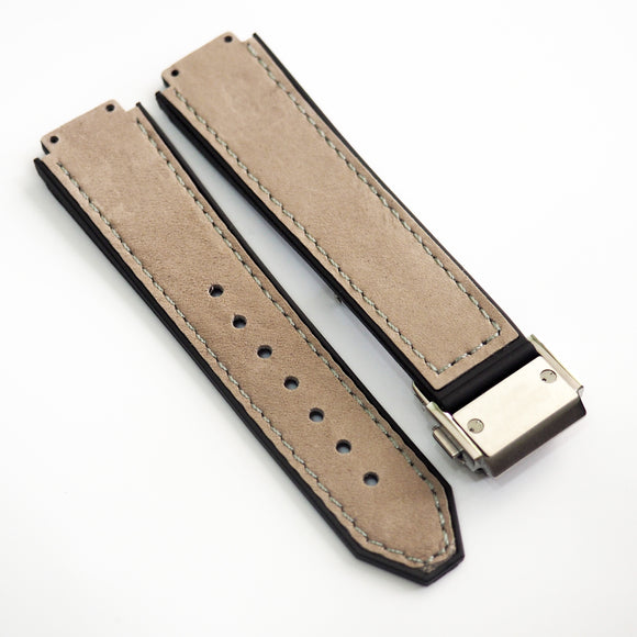 Ecru Yellow Calf Leather Watch Strap With Clasp For Hublot Big Bang 38mm - Strapholic_錶帶工房, Rolex, IWC, Panerai, AP, Cartier, Tudor, Omega, Watch_Bands
