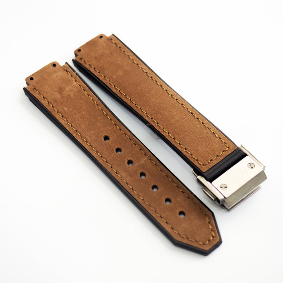 Russet Brown Calf Leather Watch Strap With Clasp For Hublot Big Bang 38mm - Strapholic_錶帶工房, Rolex, IWC, Panerai, AP, Cartier, Tudor, Omega, Watch_Bands