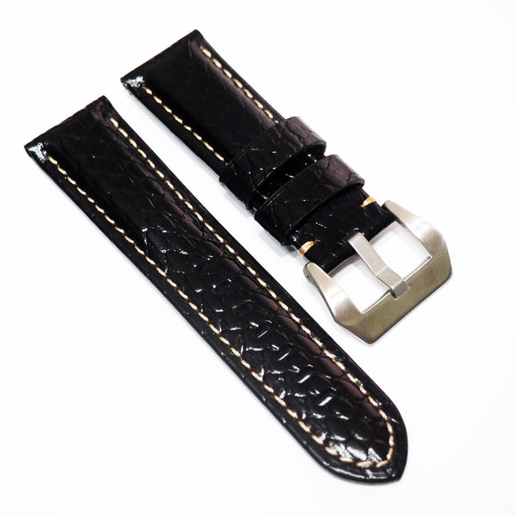 Panerai Style Black Snake-Embossed Calf Leather Watch Strap w/ Buckle - Strapholic_錶帶工房, Rolex, IWC, Panerai, AP, Cartier, Tudor, Omega, Watch_Bands