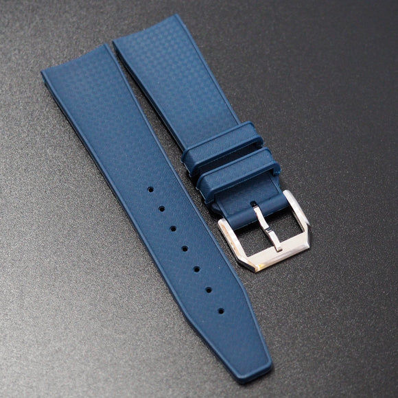 Navy Blue Premium Rubber Watch Strap w/ Deployment Clasp For IWC - Strapholic_錶帶工房, Rolex, IWC, Panerai, AP, Cartier, Tudor, Omega, Watch_Bands