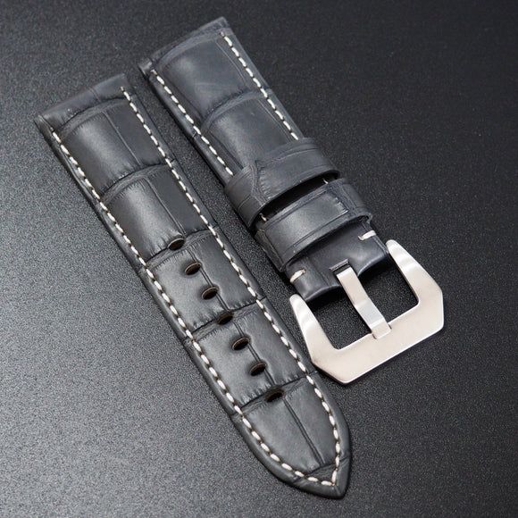Panerai Style Iron Gray Alligator Leather Watch Strap - Strapholic_錶帶工房, Rolex, IWC, Panerai, AP, Cartier, Tudor, Omega, Watch_Bands
