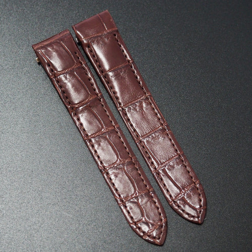 Premium Barn Red Alligator Leather Watch Strap w/ Deployment Clasp For Cartier Roadster Men's Models - Strapholic_錶帶工房, Rolex, IWC, Panerai, AP, Cartier, Tudor, Omega, Watch_Bands