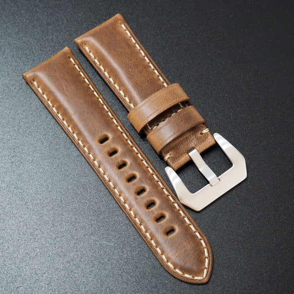 Panerai Style Brown Horween Calf Leather Watch Strap w/ White Stitching