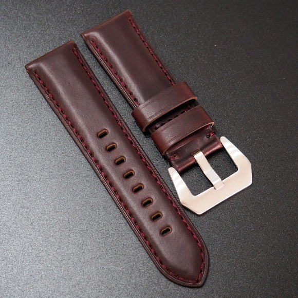 Panerai Style Mahogany Red Horween Calf Leather Watch Strap
