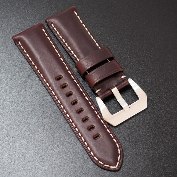 Panerai Style Mahogany Red Horween Calf Leather Watch Strap w/ White Stitching - Strapholic_錶帶工房, Rolex, IWC, Panerai, AP, Cartier, Tudor, Omega, Watch_Bands