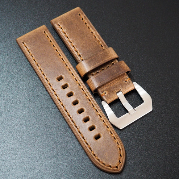 Panerai Style Brown Horween Calf Leather Watch Strap - Strapholic_錶帶工房, Rolex, IWC, Panerai, AP, Cartier, Tudor, Omega, Watch_Bands