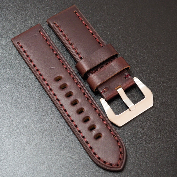 Panerai Style Mahogany Red Horween Calf Leather Watch Strap - Strapholic_錶帶工房, Rolex, IWC, Panerai, AP, Cartier, Tudor, Omega, Watch_Bands