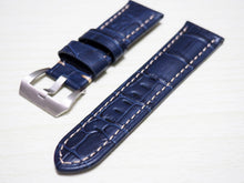 Blue Alligator-Embossed Calf Leather Watch Strap w/ Buckle For Panerai - Strapholic_錶帶工房, Rolex, IWC, Panerai, AP, Cartier, Tudor, Omega, Watch_Bands
