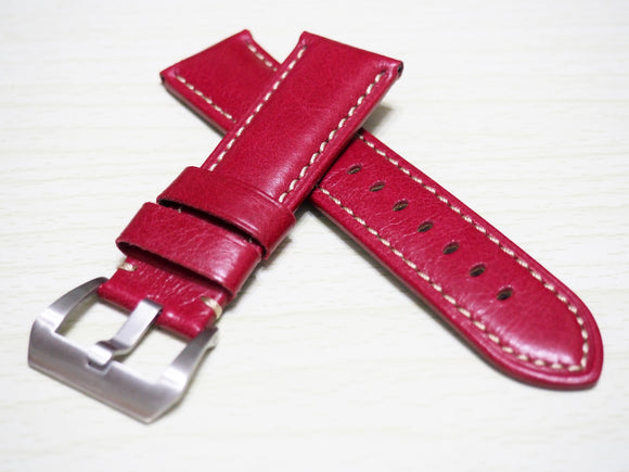 Ruby Red Calf Leather Watch Strap w/ Buckle For Panerai - Strapholic_錶帶工房, Rolex, IWC, Panerai, AP, Cartier, Tudor, Omega, Watch_Bands