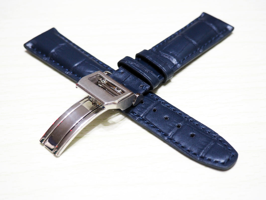 Deep Blue Alligator-Embossed Calf Leather Watch Strap w/ Deployment Clasp For IWC - Strapholic_錶帶工房, Rolex, IWC, Panerai, AP, Cartier, Tudor, Omega, Watch_Bands