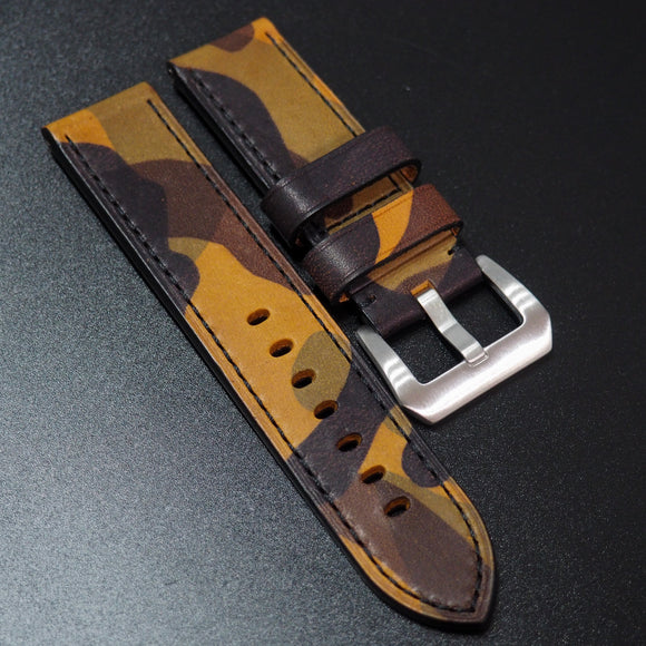 Panerai Style Yellow Camouflage Calf Leather Watch Strap - Strapholic_錶帶工房, Rolex, IWC, Panerai, AP, Cartier, Tudor, Omega, Watch_Bands