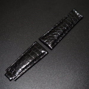 Black Seamless Pattern Alligator Leather Watch Strap With Clasp For Rolex - Strapholic_錶帶工房, Rolex, IWC, Panerai, AP, Cartier, Tudor, Omega, Watch_Bands