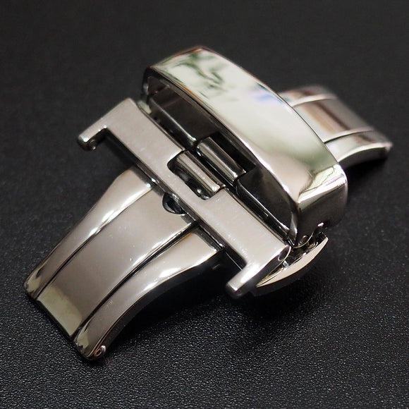 22mm Polished Stainless Steel Butterfly Deployment Buckle Clasp Replacement - Strapholic_錶帶工房, Rolex, IWC, Panerai, AP, Cartier, Tudor, Omega, Watch_Bands