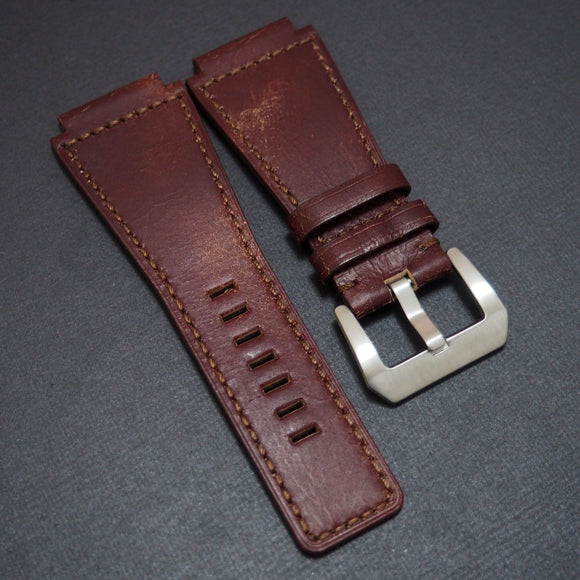 Bell & Ross Style Premium Barn Red Calf Leather Watch Strap - Strapholic_錶帶工房, Rolex, IWC, Panerai, AP, Cartier, Tudor, Omega, Watch_Bands