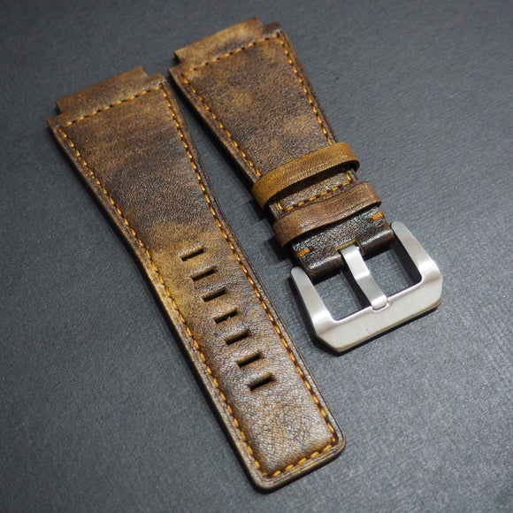 Bell & Ross Style Premium Brown / Black Calf Leather Watch Strap - Strapholic_錶帶工房, Rolex, IWC, Panerai, AP, Cartier, Tudor, Omega, Watch_Bands