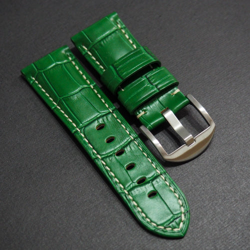 Panerai Style Green Alligator-Embossed Calf Leather Watch Strap (Girl Size) - Strapholic_錶帶工房, Rolex, IWC, Panerai, AP, Cartier, Tudor, Omega, Watch_Bands