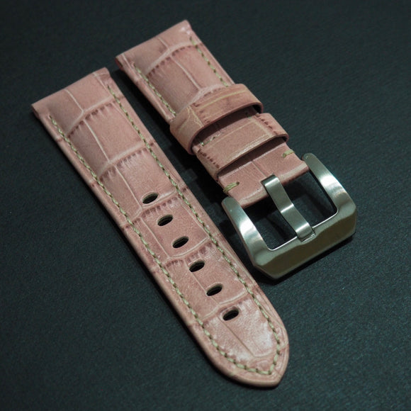 Panerai Style Pink Alligator-Embossed Calf Leather Watch Strap (Girl Size) - Strapholic_錶帶工房, Rolex, IWC, Panerai, AP, Cartier, Tudor, Omega, Watch_Bands