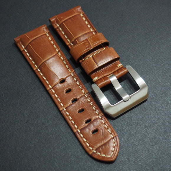 Panerai Style Brown Alligator-Embossed Calf Leather Watch Strap (Girl Size) - Strapholic_錶帶工房, Rolex, IWC, Panerai, AP, Cartier, Tudor, Omega, Watch_Bands